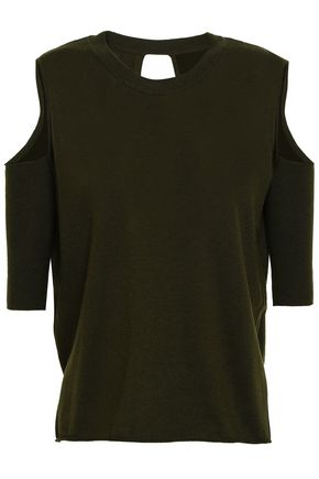 MICHELLE MASON Cold-shoulder wrap-effect cutout merino wool sweater