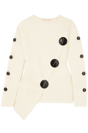 ROKSANDA Temir button-embellished ribbed wool-blend sweater
