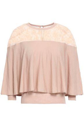 VALENTINO Lace-paneled layered wool top