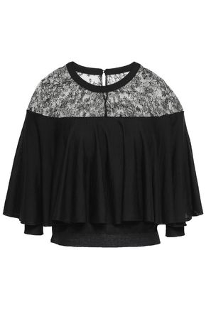 VALENTINO Lace-paneled layered wool top