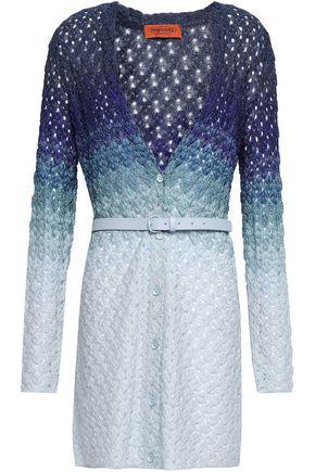 MISSONI Belted dégradé crochet-knit cardigan