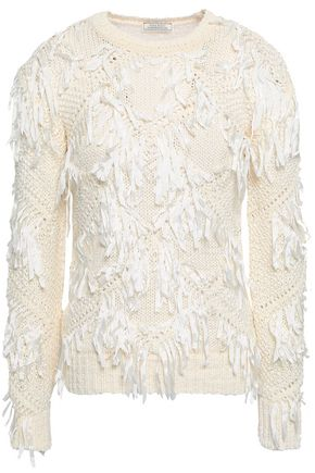 NINA RICCI Fringe-trimmed open-knit cotton sweater