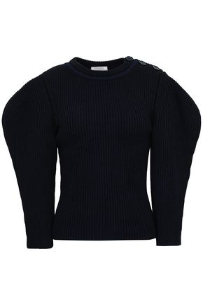 NINA RICCI Ribbed cotton and wool-blend sweater