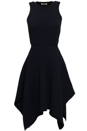 NINA RICCI Asymmetric cutout jacquard-knit dress