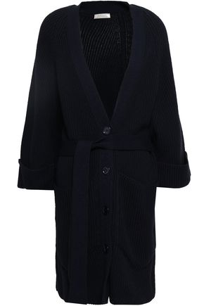 NINA RICCI Belted ribbed cotton and wool-blend cardigan