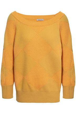NINA RICCI Argyle ribbed cotton and wool-blend sweater