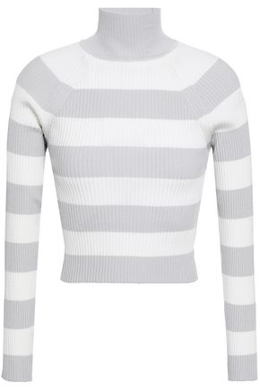 ZIMMERMANN Striped ribbed-knit turtleneck sweater