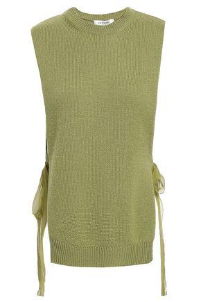 VALENTINO Tie-side silk chiffon-trimmed cashmere top