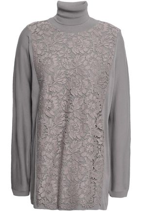 VALENTINO Corded lace-paneled wool turtleneck sweater