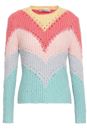VALENTINO Pointelle-trimmed ribbed silk sweater