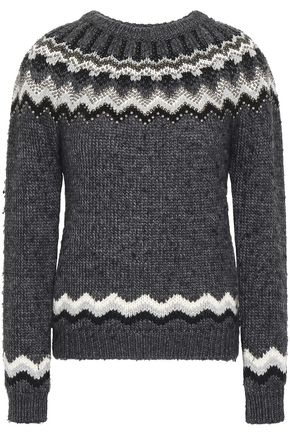 VALENTINO Studded alpaca and wool-blend sweater