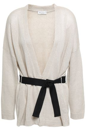BRUNELLO CUCINELLI Belted sequined linen and silk-blend cardigan