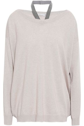 BRUNELLO CUCINELLI Bead-embellished mélange cashmere sweater