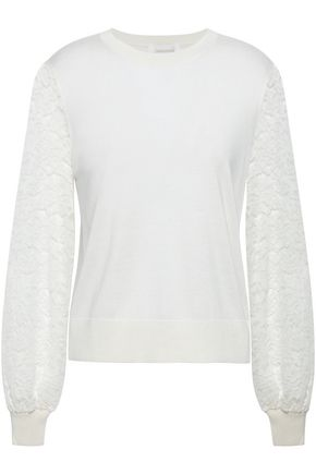ZIMMERMANN Lace-paneled knitted sweater