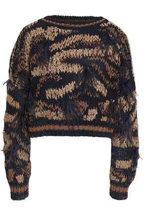 BRUNELLO CUCINELLI Cropped embellished metallic cotton-blend sweater