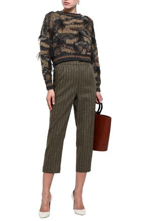 BRUNELLO CUCINELLI Cropped embellished metallic cotton-blend sweater