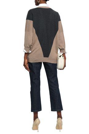 BRUNELLO CUCINELLI Bead-embellished two-tone cashmere cardigan