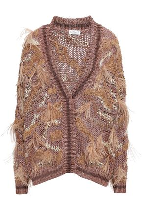 BRUNELLO CUCINELLI Feather-trimmed embellished cotton-blend cardigan