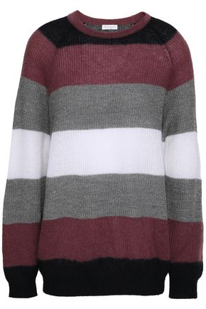 BRUNELLO CUCINELLI Metallic striped knitted sweater