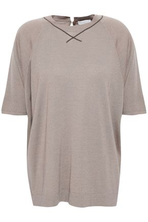 BRUNELLO CUCINELLI Bead-embellished metallic cashmere-blend T-shirt