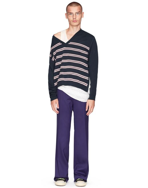 STRIPED V-NECK SWEATER    - Lanvin