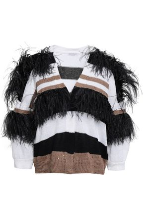 BRUNELLO CUCINELLI Feather-trimmed cotton, linen and silk-blend cardigan