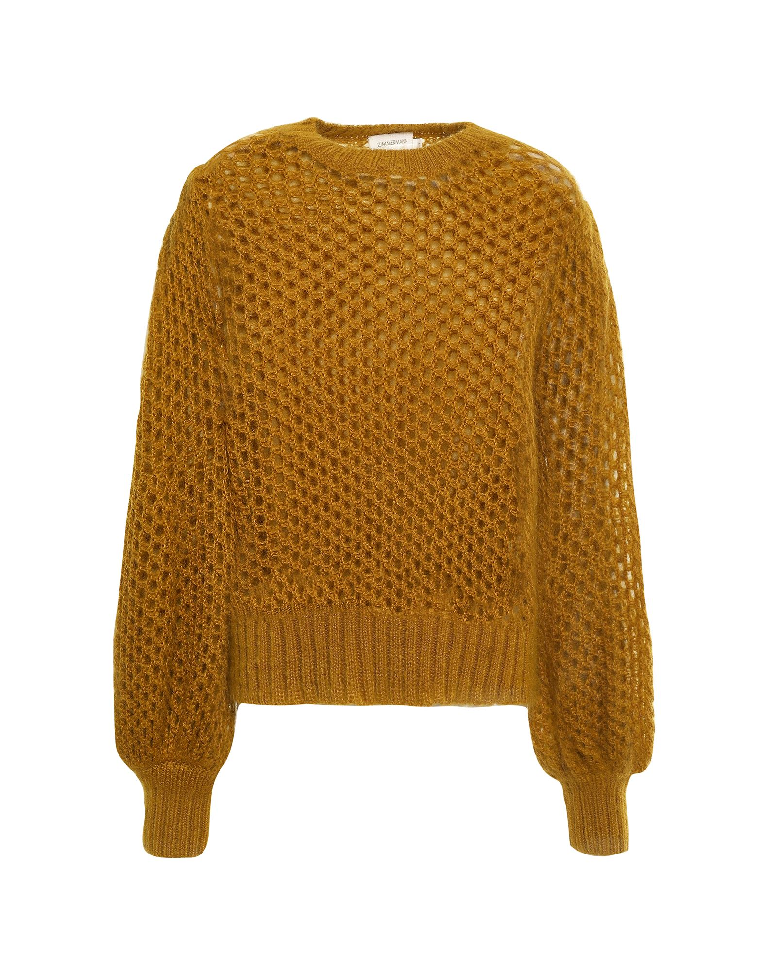 ZIMMERMANN Sweaters. knitted, no appliqués, basic solid color, round collar, medium-weight sweater, long sleeves, no pockets, openwork. 55% Mohair wool, 30% Polyamide, 15% Wool