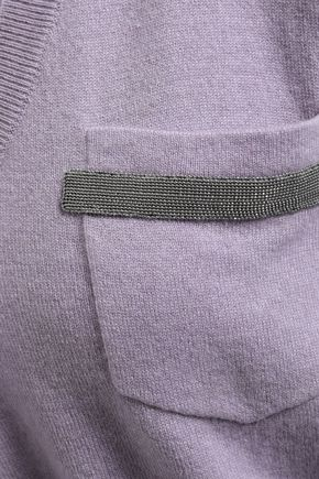 BRUNELLO CUCINELLI Bead-embellished cropped cashmere sweater
