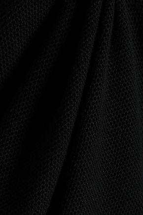 RAOUL Cropped eyelet-embellished waffle-knit cotton top