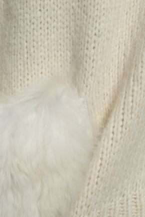 TIBI Faux fur-trimmed alpaca-blend hoodie