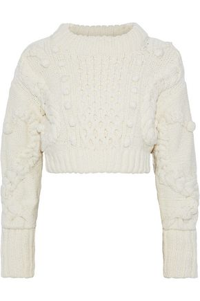 OSCAR DE LA RENTA Cropped cable-knit merino wool-blend sweater