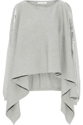 OSCAR DE LA RENTA Sequin-embellished draped wool sweater