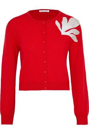 OSCAR DE LA RENTA Cropped appliquéd wool cardigan