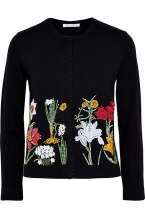 OSCAR DE LA RENTA Embellished wool cardigan