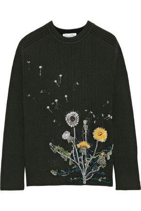 OSCAR DE LA RENTA Embellished ribbed wool-blend sweater