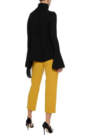OSCAR DE LA RENTA Metallic ribbed wool-blend turtleneck sweater