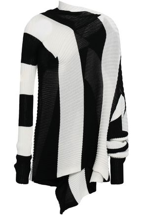 MARQUES' ALMEIDA Draped striped ribbed-knit sweater
