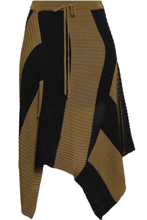 MARQUES' ALMEIDA Two-tone ribbed-knit skirt