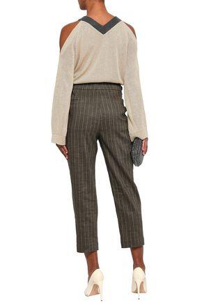 BRUNELLO CUCINELLI Cold-shoulder embellished linen and silk-blend sweater