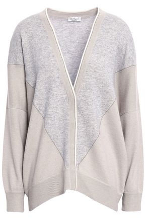 BRUNELLO CUCINELLI Bead-embellished two-tone cashmere cardigan