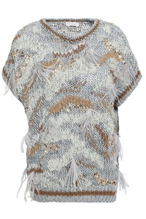 BRUNELLO CUCINELLI Embellished metallic cotton-blend sweater