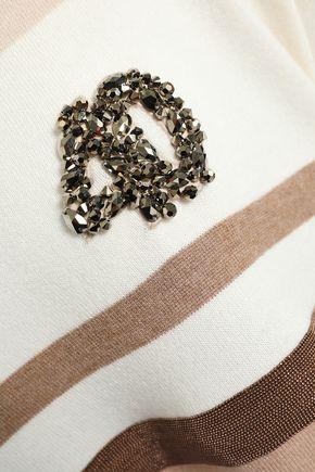 BRUNELLO CUCINELLI Embellished striped cashmere top