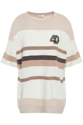BRUNELLO CUCINELLI Embellished striped cashmere top