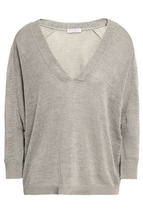BRUNELLO CUCINELLI Bead-embellished striped cotton sweater