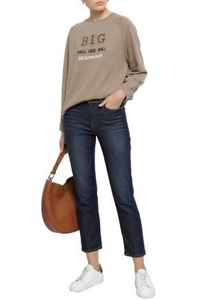 BRUNELLO CUCINELLI Bead-embellished printed cashmere sweater