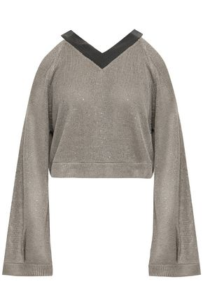 BRUNELLO CUCINELLI Cropped cold-shoulder embellished linen and silk-blend sweater