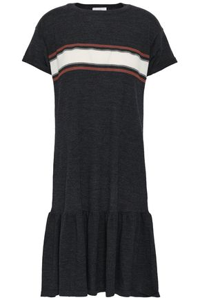 BRUNELLO CUCINELLI Gathered striped wool and cashmere-blend dress