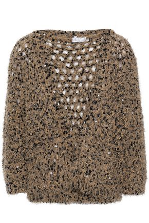 BRUNELLO CUCINELLI Sequined open-knit top