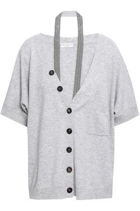 BRUNELLO CUCINELLI Bead-embellished mélange cashmere cardigan