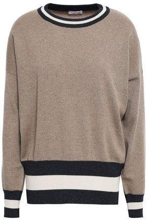 BRUNELLO CUCINELLI Stripe-trimmed cashmere sweater